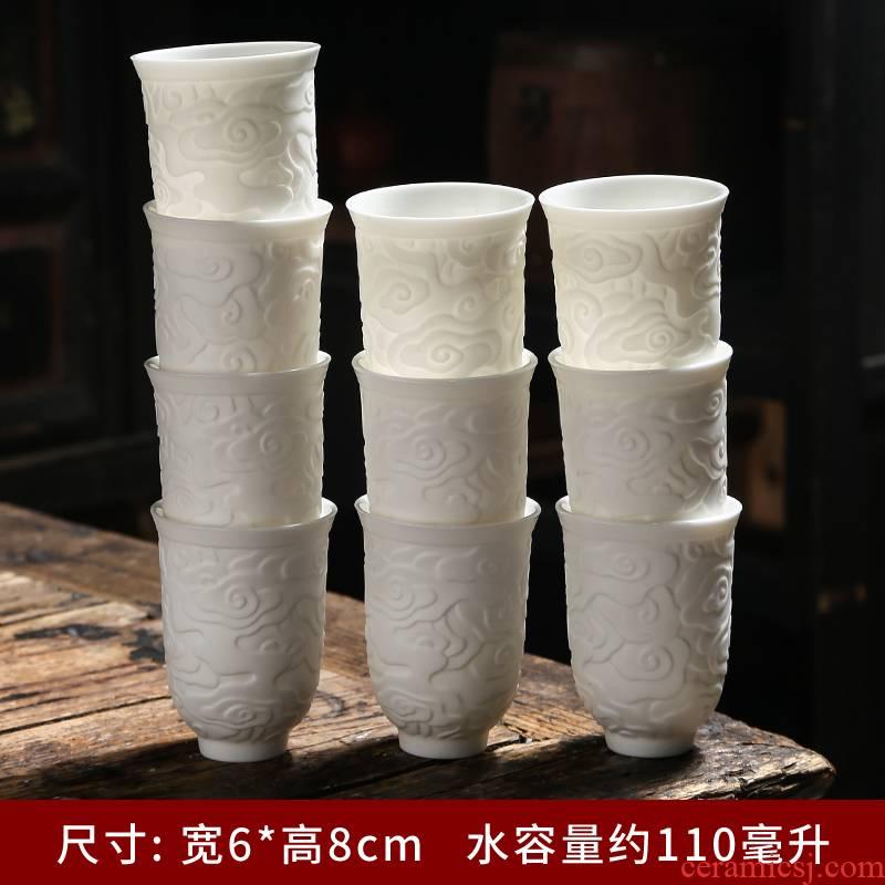 Dehua suet jade white porcelain kunfu tea cups a single household personal master cup sample tea cup white ceramic cup