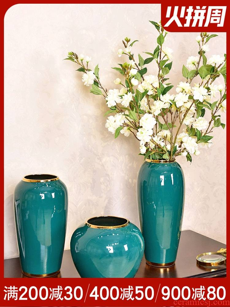 Modern household adornment light much creative ceramic vase furnishing articles sitting room porch new Chinese flower arranging American table