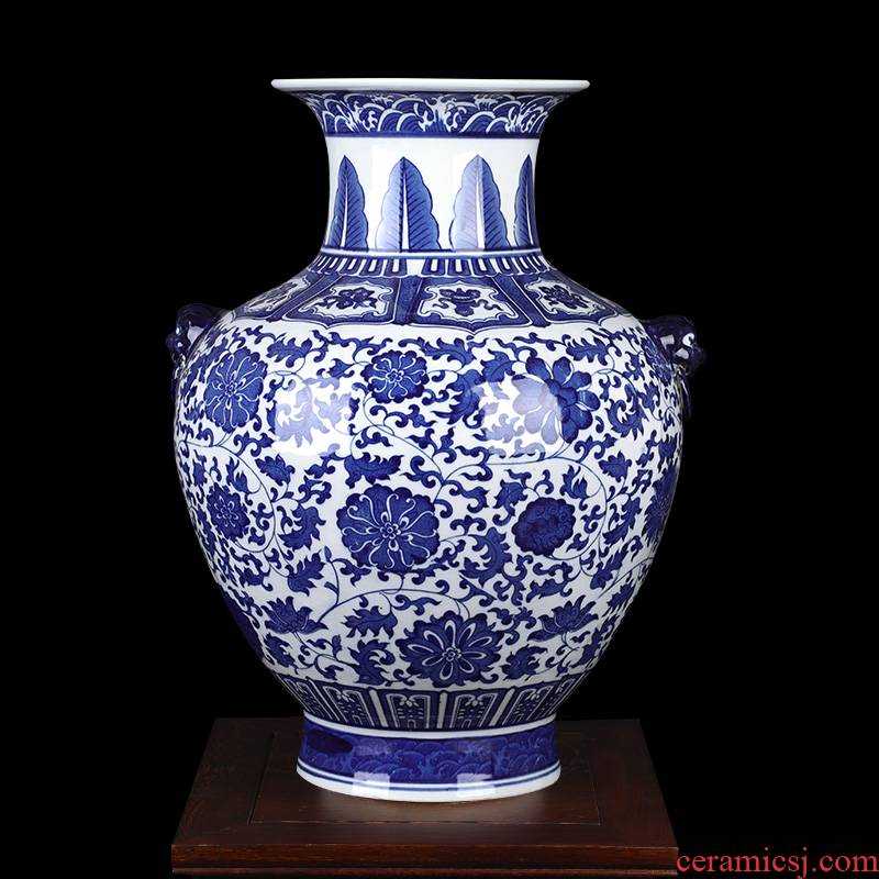 Blue and white porcelain of jingdezhen ceramics ocean 's ears bottle large vases, flower arranging archaize sitting room porch place decorations