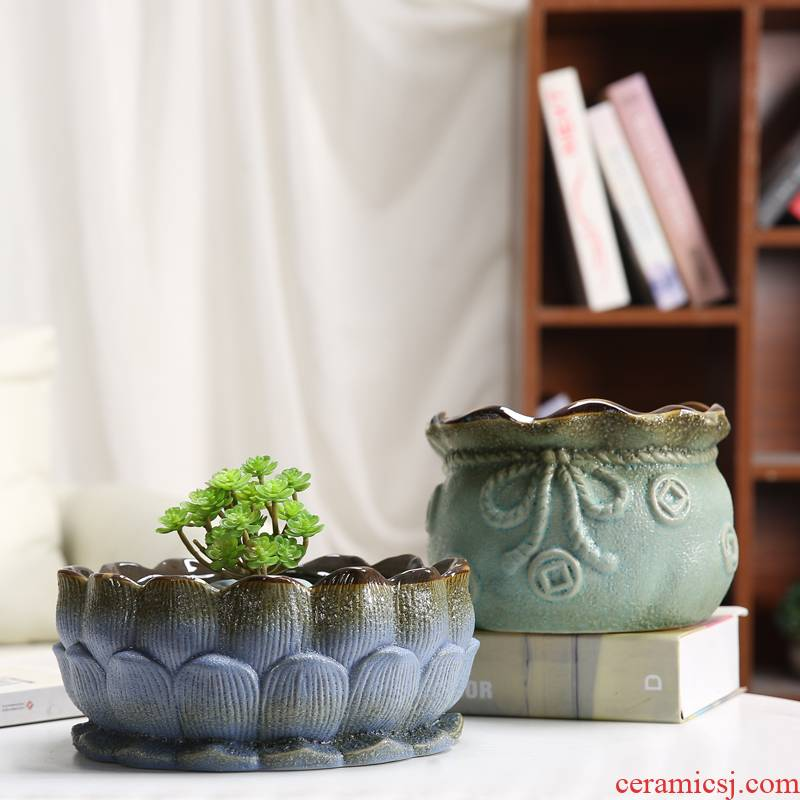 More meat big running the mage, jade compose butterfly orchid potted flower POTS, large diameter high model of ceramic flower POTS orchid flowers