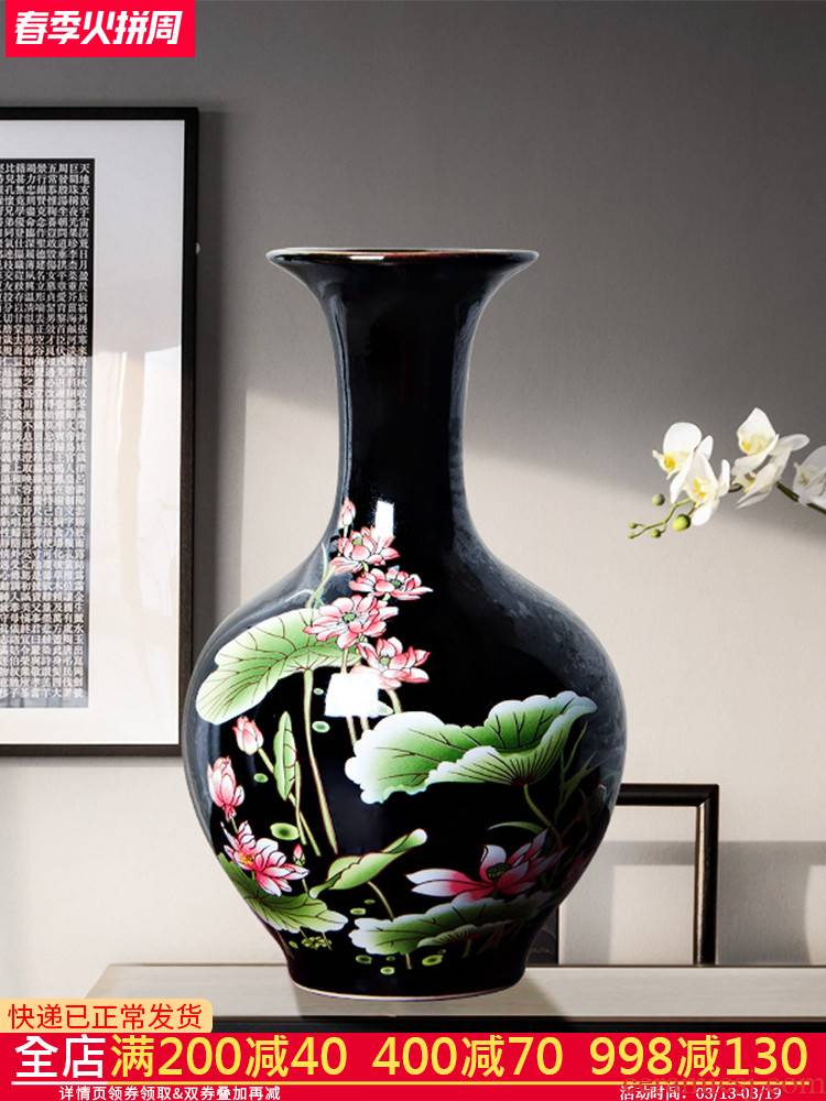 Jingdezhen ceramics rich ancient frame floret bottle modern new Chinese style household furnishing articles flower arranging dried flowers sitting room adornment