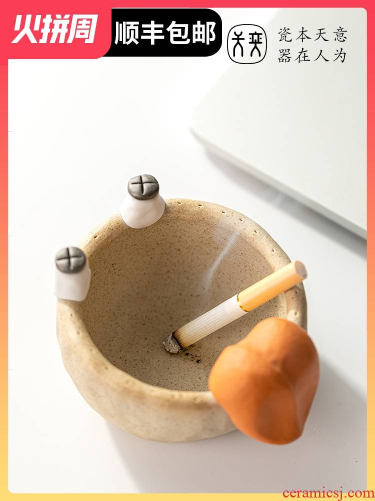 Big expressions using ashtray ceramic creative move trend, lovely office man practical husband surprise birthday present
