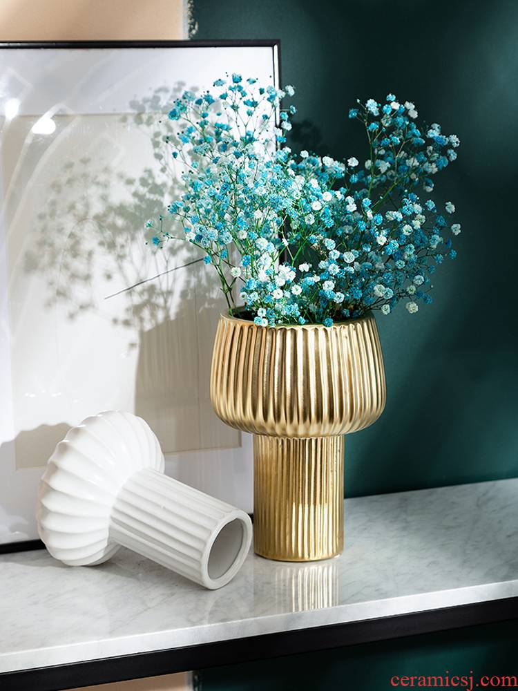 Nordic torch shape ceramic vase gold - plated simulation flower bouquet porch place is I and contracted light key-2 luxury soft outfit it