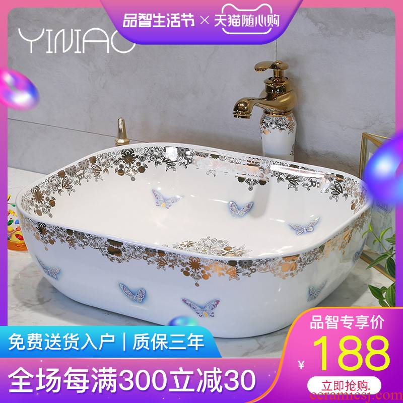 M letters birds sanitary ceramic basin sinks art stage home European butterfly face basin sink