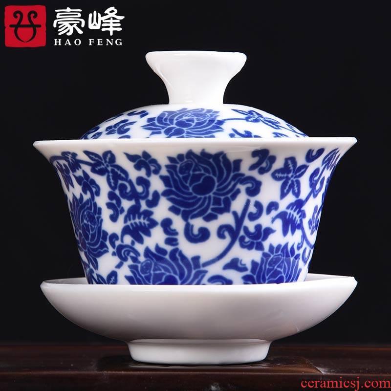 HaoFeng three only white porcelain ceramic tea tureen home office kunfu tea tureen bowl with a single hand grasp pot