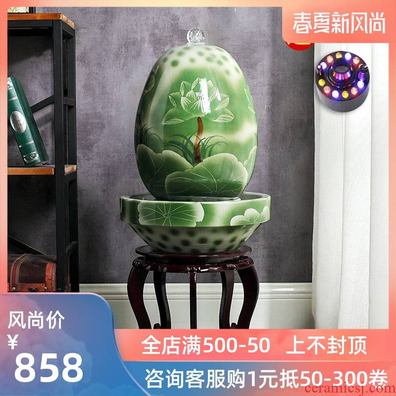 Jingdezhen ceramic fish small sitting room aquarium water fountain creative household humidifier water tank