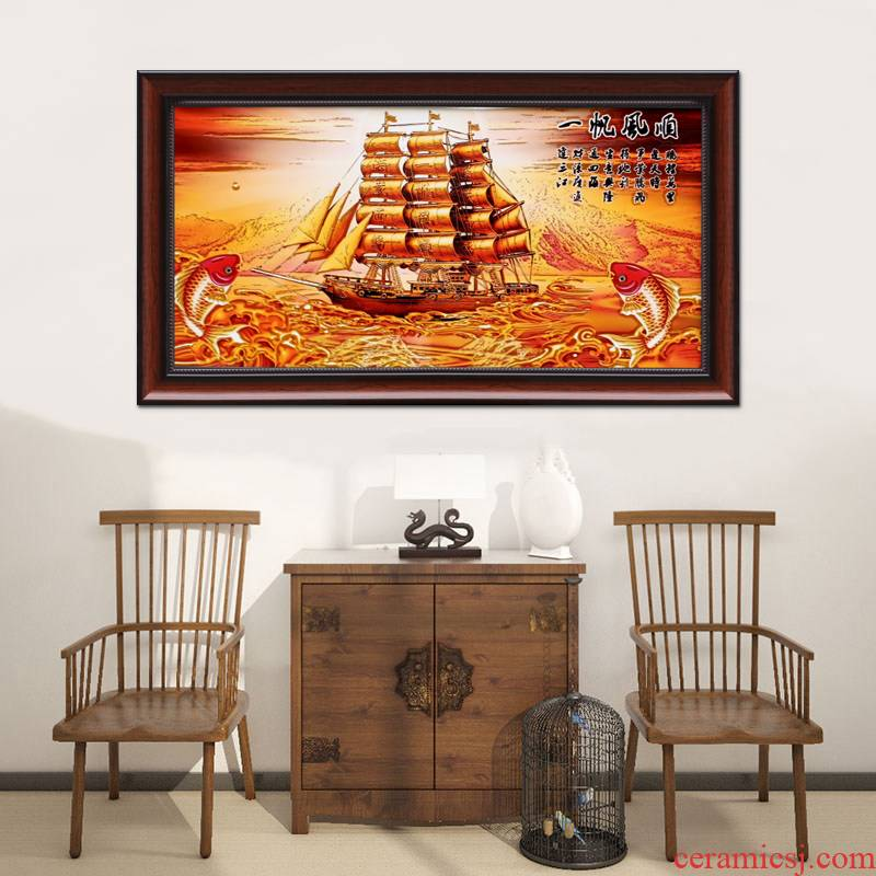 Jingdezhen ceramics porcelain plate painting mural painting in the sitting room of Chinese style household porch decoration smooth sailing