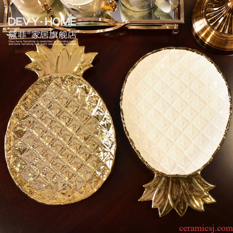 Nordic light key-2 luxury European - style ceramics key tray dried fruit tray was furnishing articles for melon seeds of I and contracted sitting room adornment