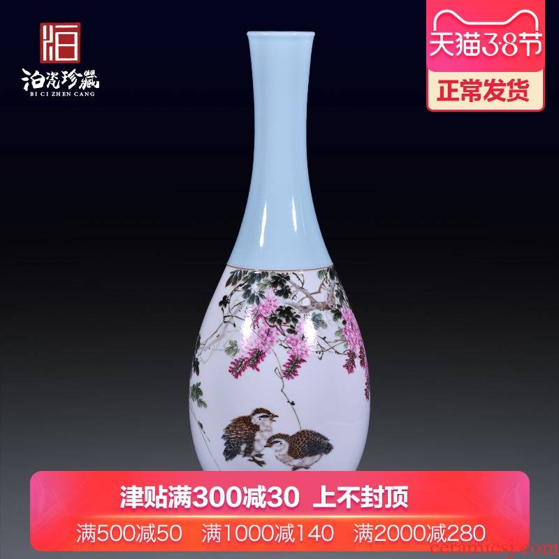 Jingdezhen ceramic hand - made flowers and birds landing big vase decoration household decorates sitting room study collect flower arranging furnishing articles