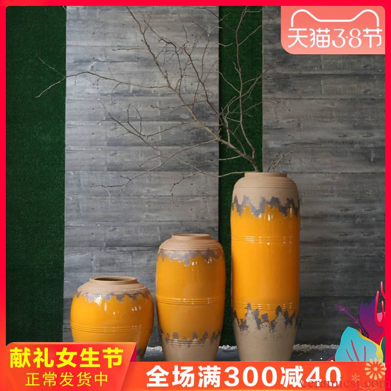 Coarse pottery dated pottery vase store restaurant hotel of large flowers in jingdezhen ceramic ornaments
