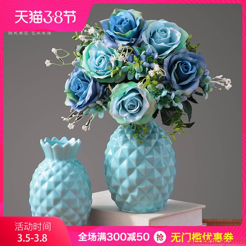 Small pure and fresh and ceramic vases, I and contracted artificial flowers, dried flowers, flower flower implement living room table home furnishing articles