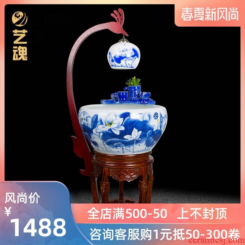 Jingdezhen ceramic filter tank circular tank water fish goldfish bowl office tank sitting room ground wind