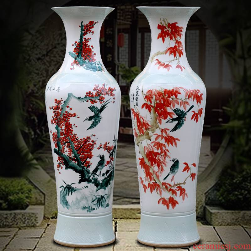 Jingdezhen ceramic hand - made beaming of large vase sitting room of Chinese style household furnishing articles store opening gifts