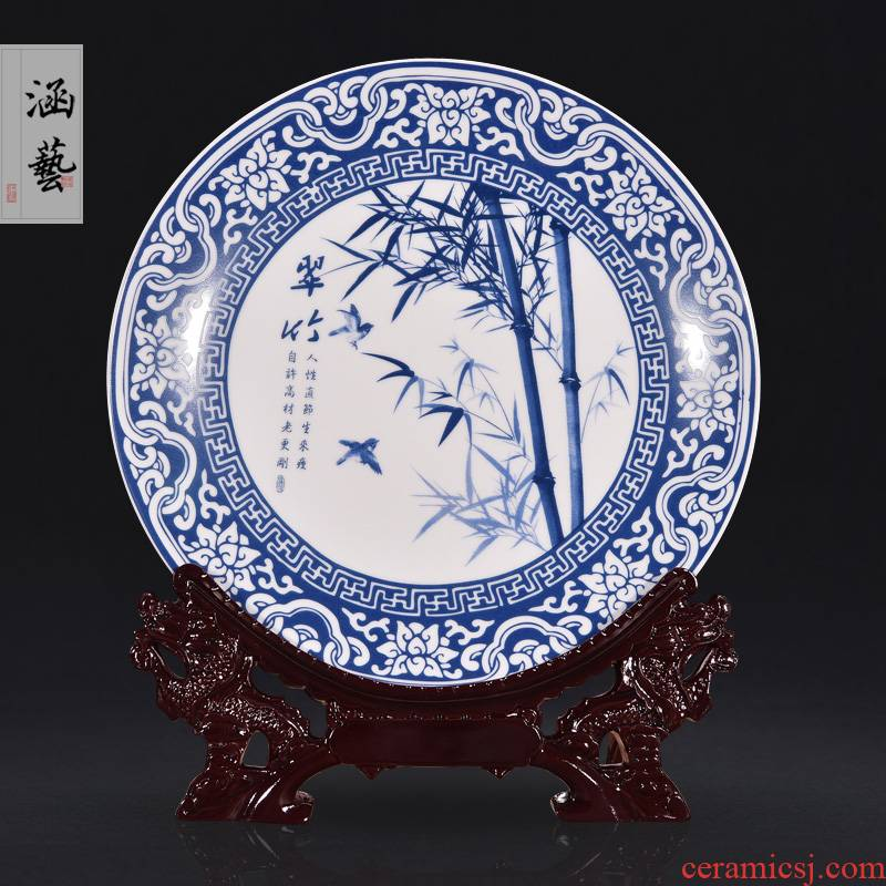 Blue and white by patterns of jingdezhen ceramics decoration hanging dish sitting room of the new Chinese style household adornment handicraft furnishing articles