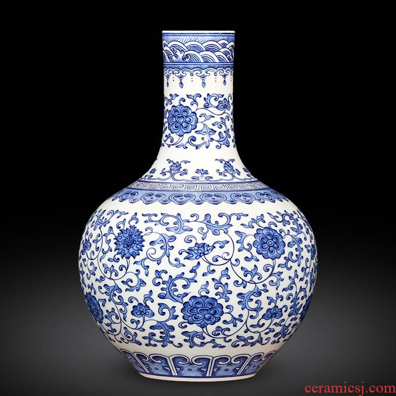 Jingdezhen ceramics imitation yongzheng hand - made of blue and white porcelain vases, new classical Chinese style home furnishing articles sitting room