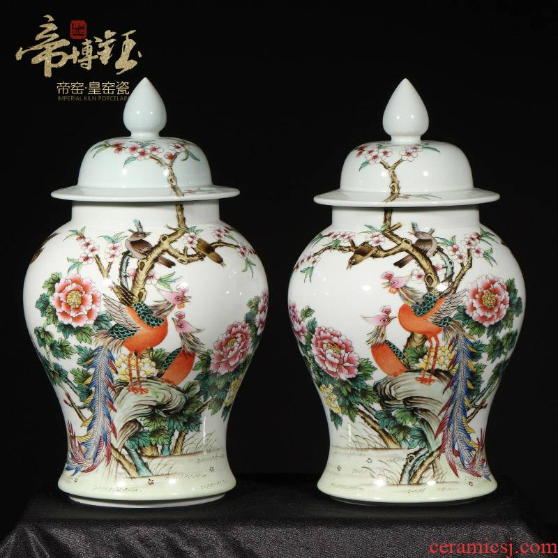 Jingdezhen ceramics antique hand - made blue glaze painting of flowers and the general pot vase household art deco restoring ancient ways furnishing articles