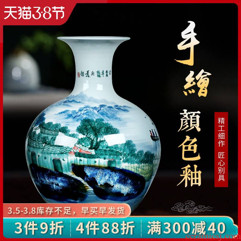 Jingdezhen ceramic vase hand - made jiangnan Chinese large living room TV ark, flower arranging porch is decorated furnishing articles