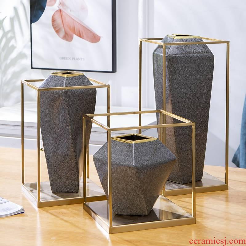 Jingdezhen ceramic light of new Chinese style key-2 luxury decorative vase furnishing articles wind American European sitting room dried flowers flower arrangement table