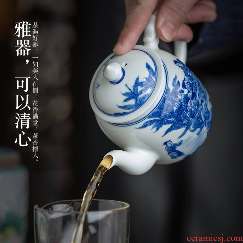 Jingdezhen ceramic hand - made porcelain maintain character ewer kung fu tea set large single pot of big capacity of the teapot