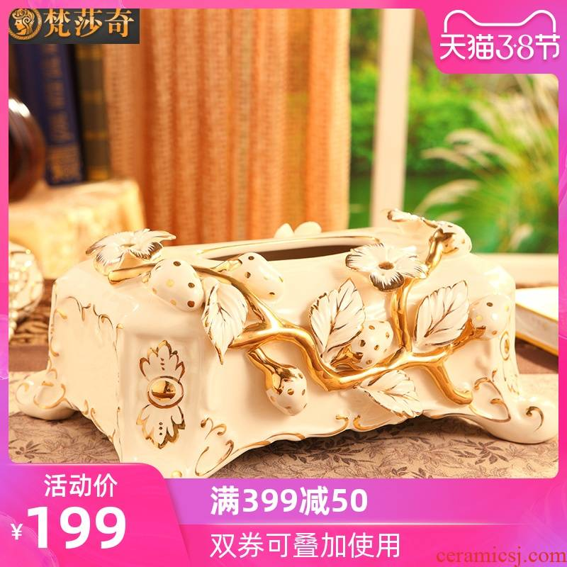 The master bedroom adornment is placed ceramic tissue box creativity European - style key-2 luxury living room table cartons of tea table decorations