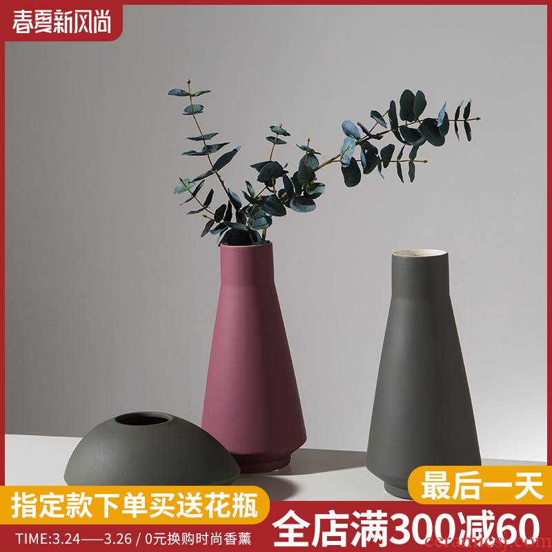 The Nordic idea contracted light key-2 luxury ceramic vase desktop furnishing articles sitting room adornment table dry vases, small and pure and fresh