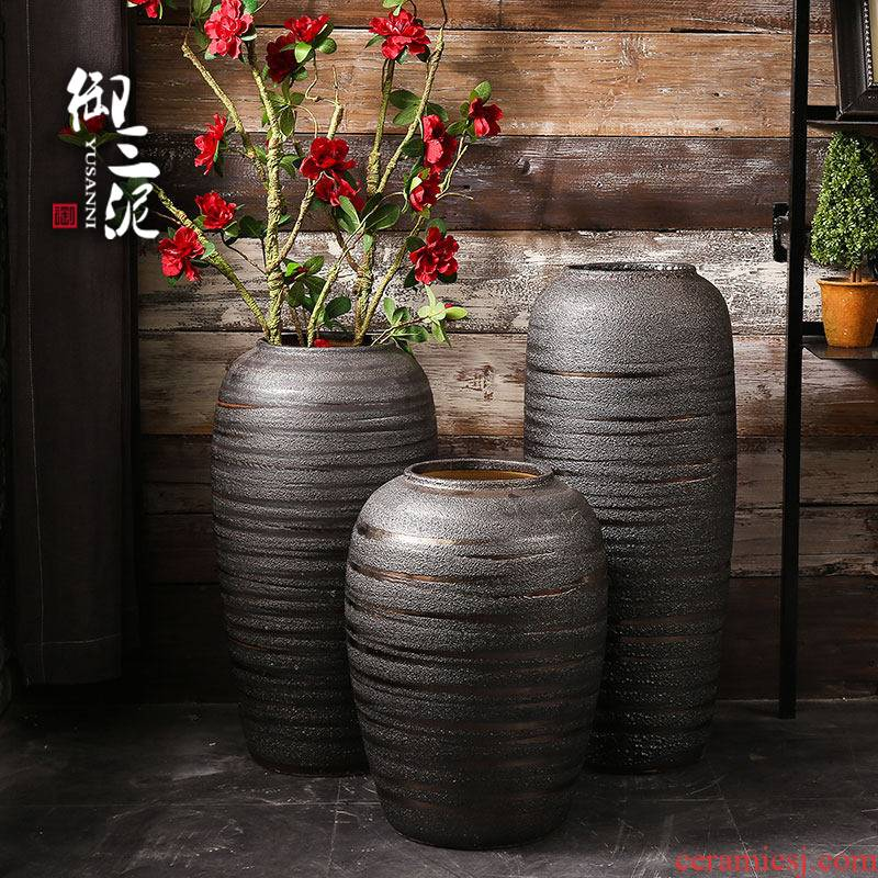 Dry flower vases, ceramic retro checking flower implement household decorates sitting room ground vases, pottery jar flower arranging furnishing articles
