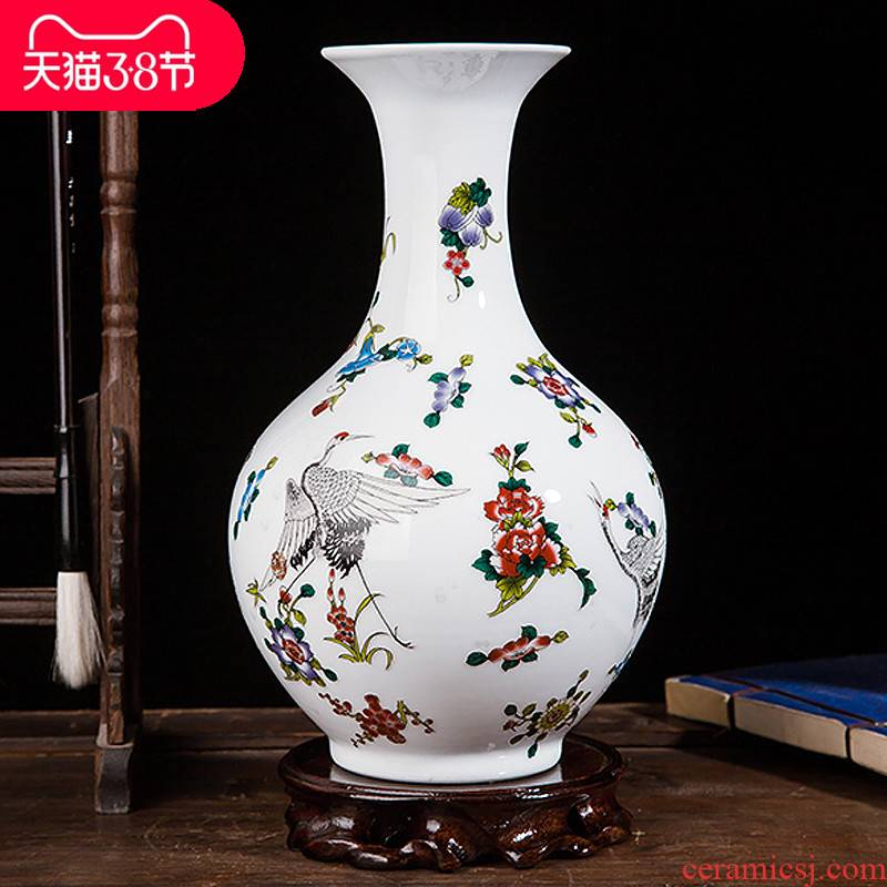 Jingdezhen ceramics colored enamel modern creative floret bottle of home sitting room handicraft wine ark, adornment furnishing articles