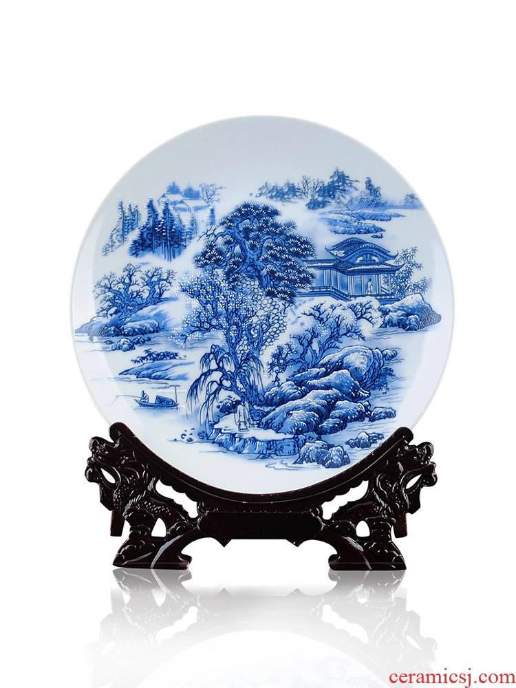 Furnishing articles of pottery and porcelain porcelain plate long blue and white porcelain decoration plate flowers hang dish modern fashionable Chinese style household decoration plate