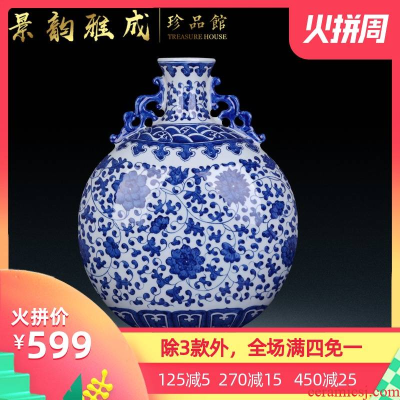 Jingdezhen ceramic sitting room porch decoration furnishing articles new Chinese blue and white porcelain vase handicraft decoration by hand