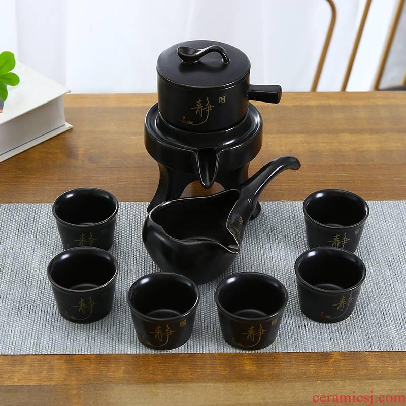 Coarse pottery lazy half automatic creative Shi Mopan kung fu tea, purple sand tea set of household ceramic teapot
