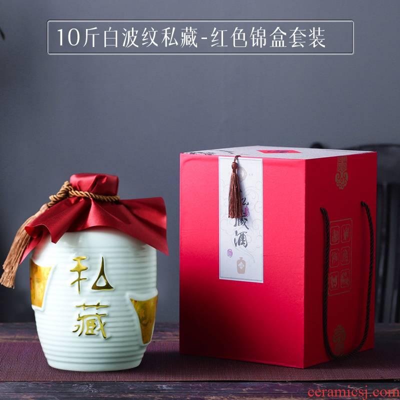 Jingdezhen 10 jins to ceramic bottle ten catties seal wine jar Mid - Autumn festival gift JinHe suit