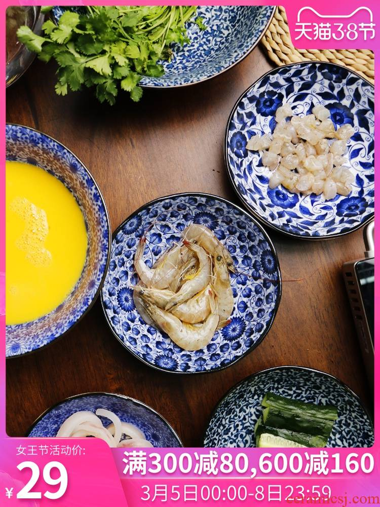 Meinung ceramic plates snacks Japanese cold snack plate creative dish fruit cake plate household deep dish