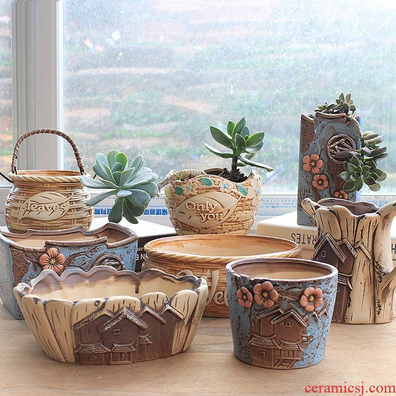 Flowerpot ceramic sale domestic large clearance of large diameter more than simple Korean meat meat plant new meat flower pot