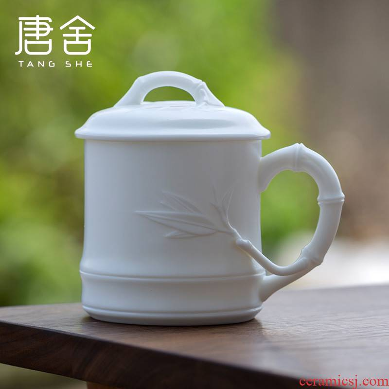 Don difference up jade porcelain dehua white porcelain office cup checking bamboo with master cup with cover cup, President of the conference room, tea cups