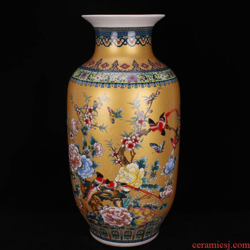 Jingdezhen porcelain qianlong golden colored enamel charactizing a Chinese domestic outfit company store large vase