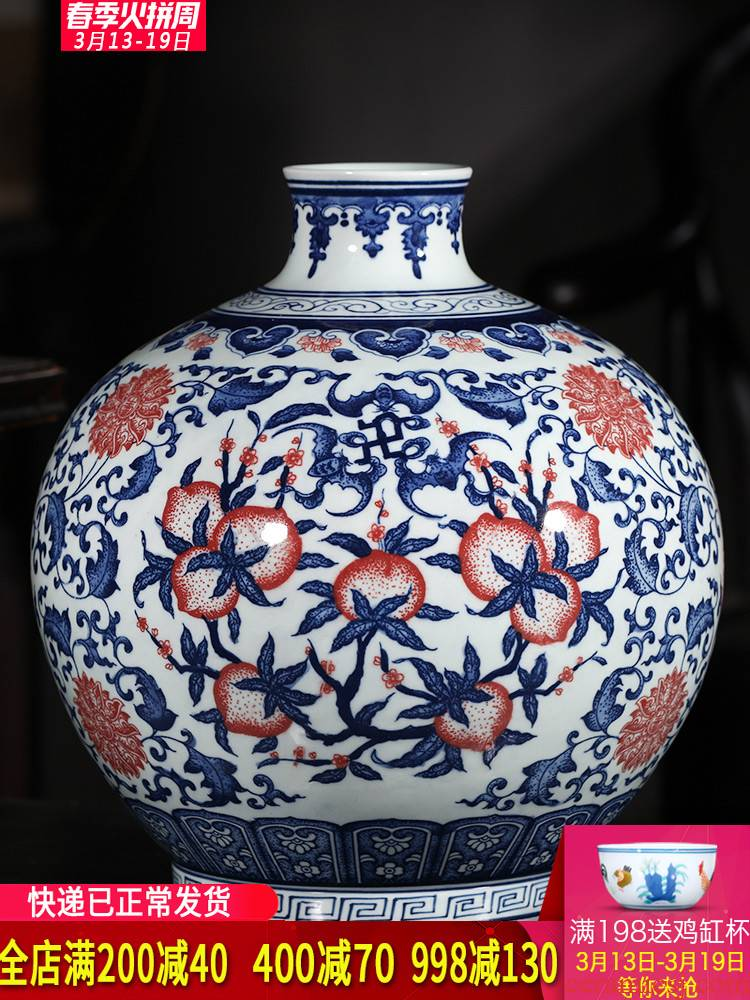 Jingdezhen ceramics hand - made live figure blue and white porcelain vases, new Chinese style household, sitting room porch decorations furnishing articles