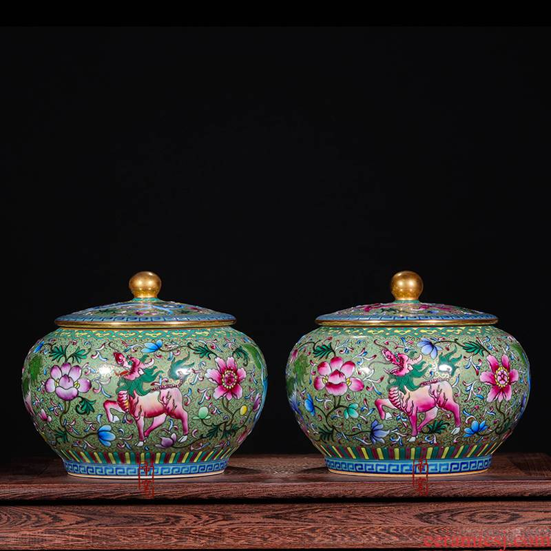 Jingdezhen ceramic antique hand - made vases furnishing articles pastel green kirin caddy fixings colored enamel tank storage tank