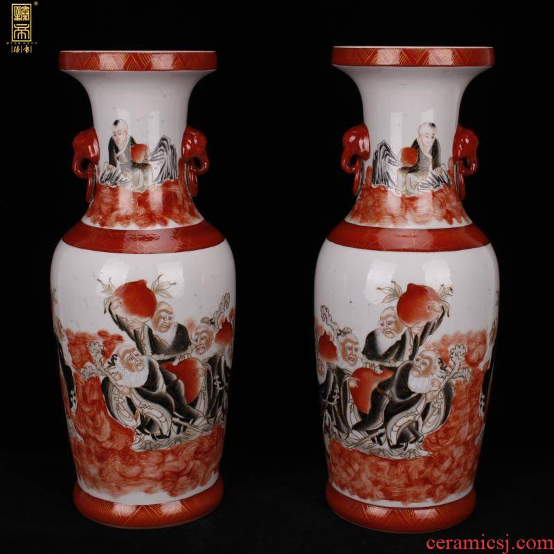 Jingdezhen hand - made 巩红 color ink all live double ears imitation the qing xianfeng antique antique collection boutique furnishing articles