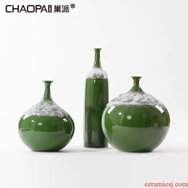 New classical sitting room porch vestibular ark side China study TV ark, decoration decoration zen ceramic pot