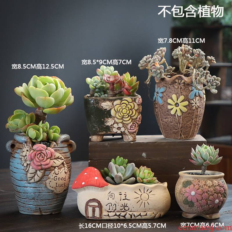 The Fleshy flowerpot combination suit special offer a clearance of creative move coarse pottery breathable old flowerpot pack mail from running meat meat the plants