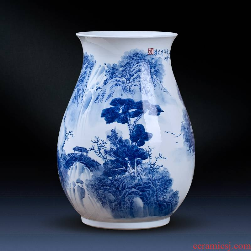 Jingdezhen ceramics hand - made of blue and white porcelain vase furnishing articles of new Chinese style living room TV ark, porcelain home decoration