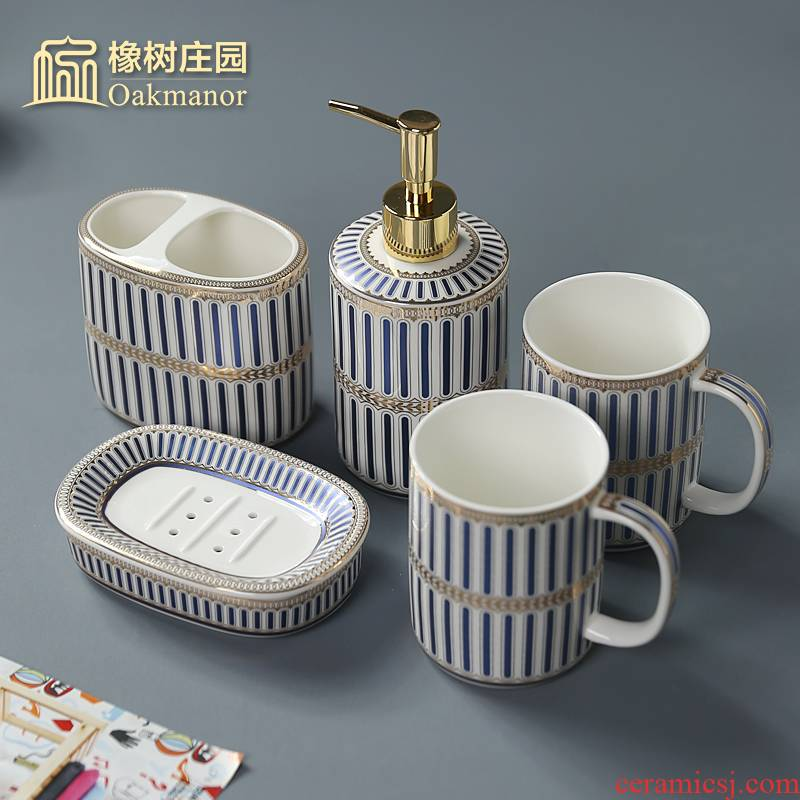 Nordic light set the key-2 luxury of ceramic sanitary ware has five suit bathroom articles for use that wash gargle gargle cup toothbrush cup toilet kit