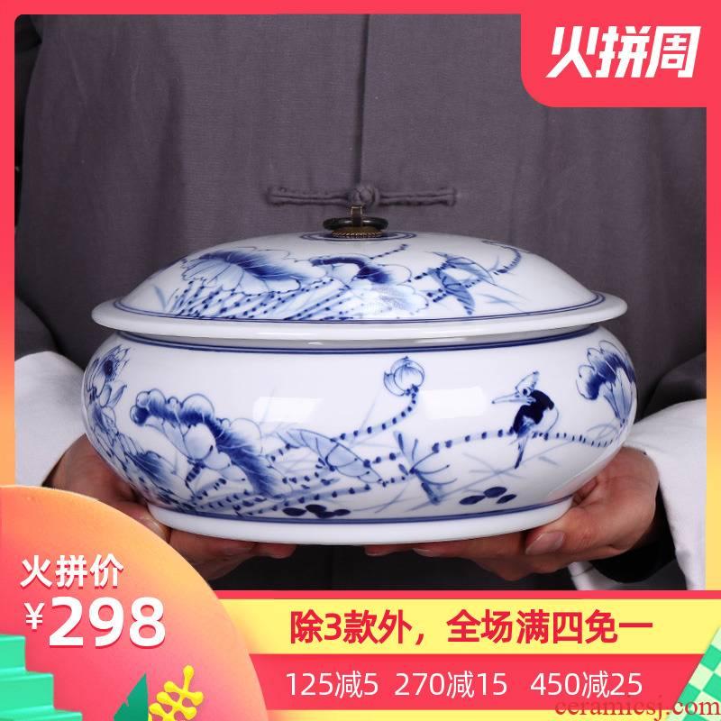 Blue and white porcelain of jingdezhen ceramics hand - made caddy fixings peulthai the seal pot of tea cake tea pot porcelain