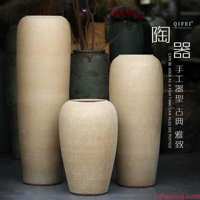 Jingdezhen ceramic large vase hotel furnishing articles sitting room flower arranging new Chinese style restoring ancient ways contracted large POTS