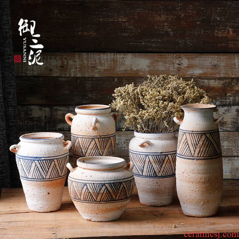 Checking coarse TaoHua hand - made earthenware vase crafts dried flower adornment furnishing articles pottery art restoring ancient ways flowerpot
