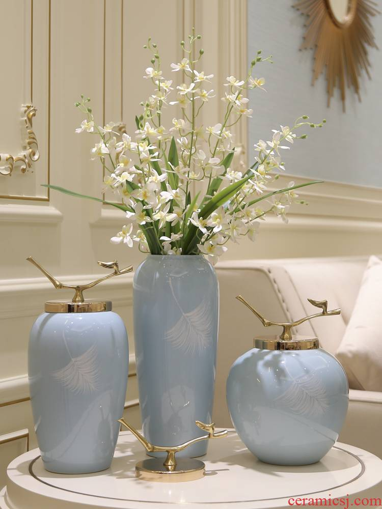 Jingdezhen contracted creative mesa ceramic vase simulation flower adornment furnishing articles receptacle TV ark, hydroponic flowers