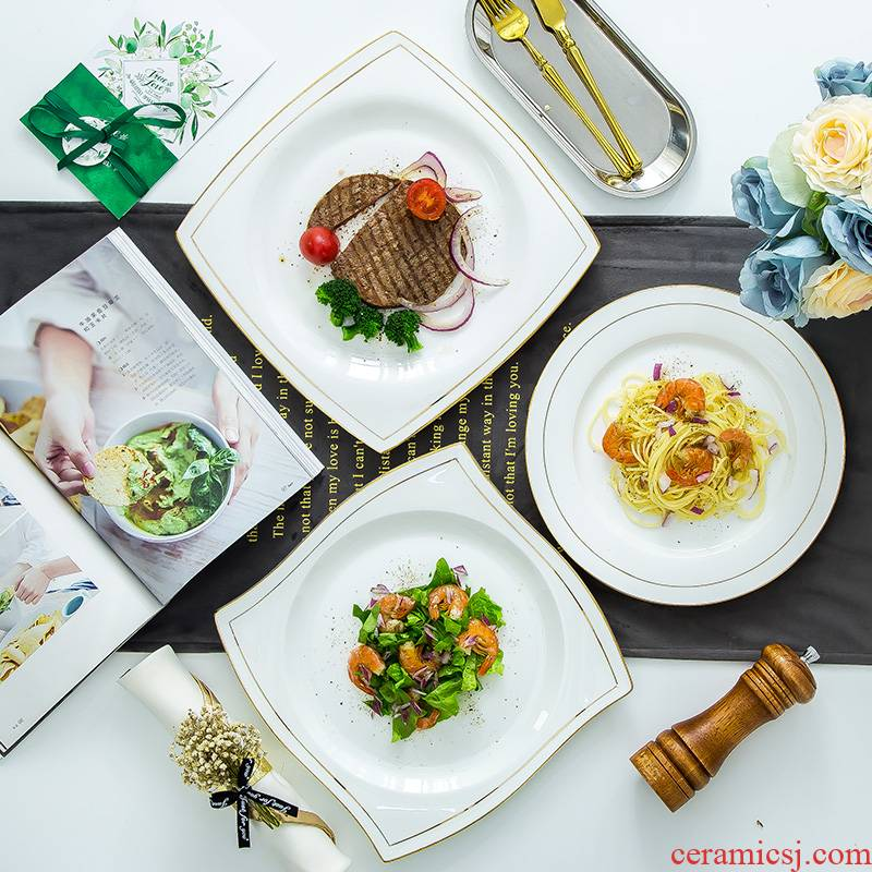 Contracted round ipads porcelain plate beefsteak dish flat dish dish soup plate salad plates European household square plate