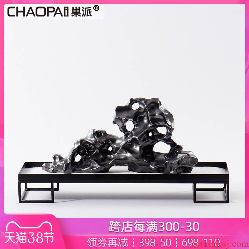 New Chinese style taihu ceramic rockery place soft adornment display case example room, the sitting room porch its decoration