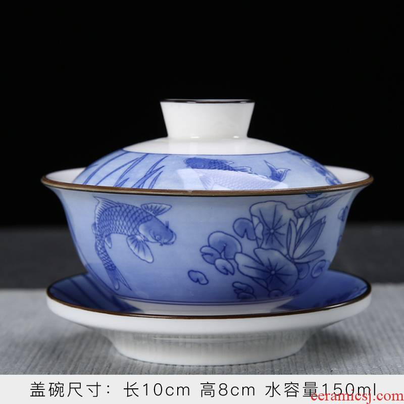 Dehua white porcelain printing ceramic tureen tea cups only three bowl bowl suet jade kung fu suit household tea