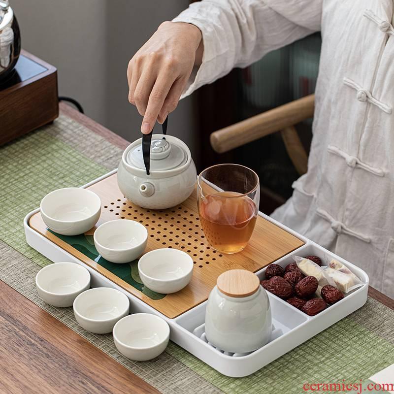 Porcelain heng tong wing ceramic kung fu tea set gift boxes of household contracted office make tea, tea pot